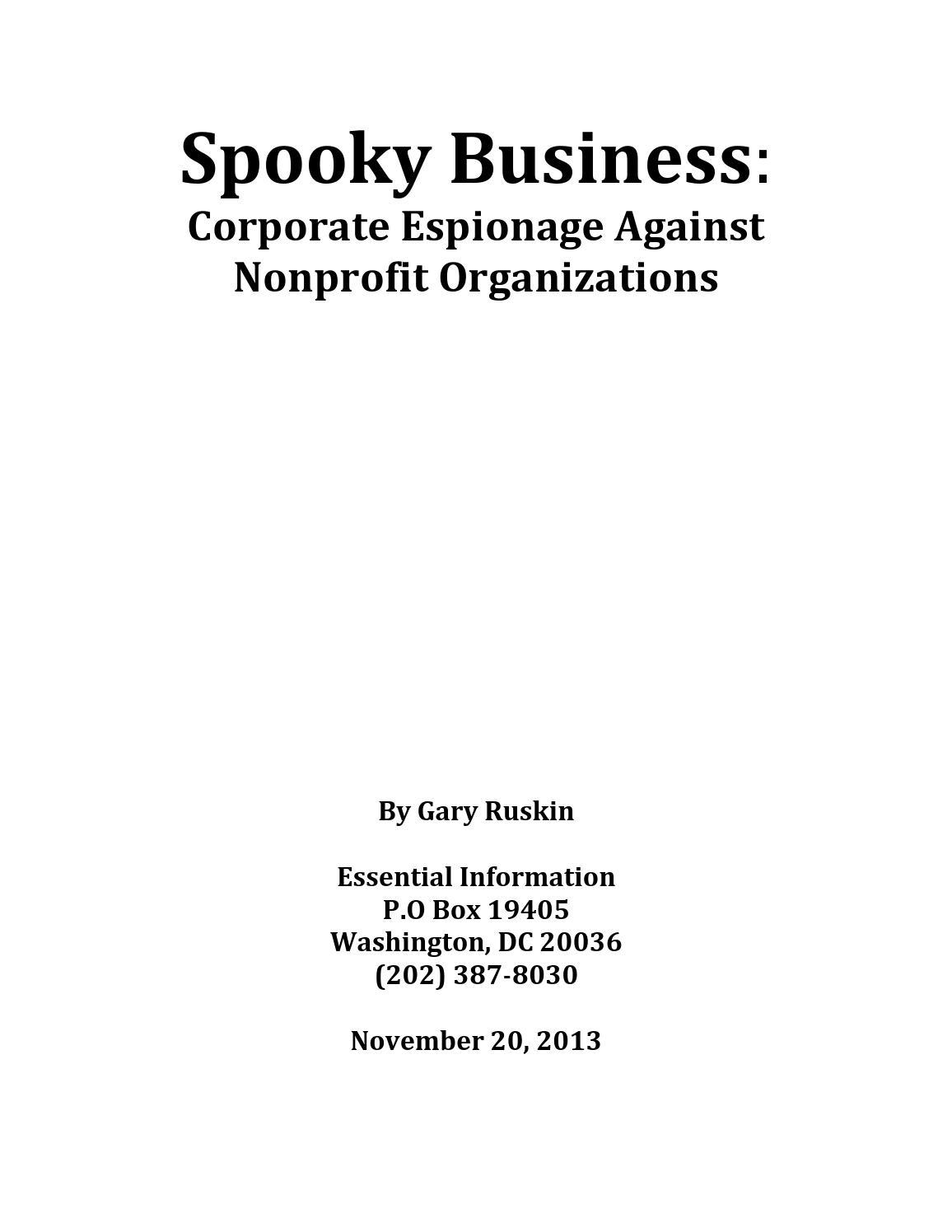 Spooky Business Corporate Espionage Against Nonprofit Organizations