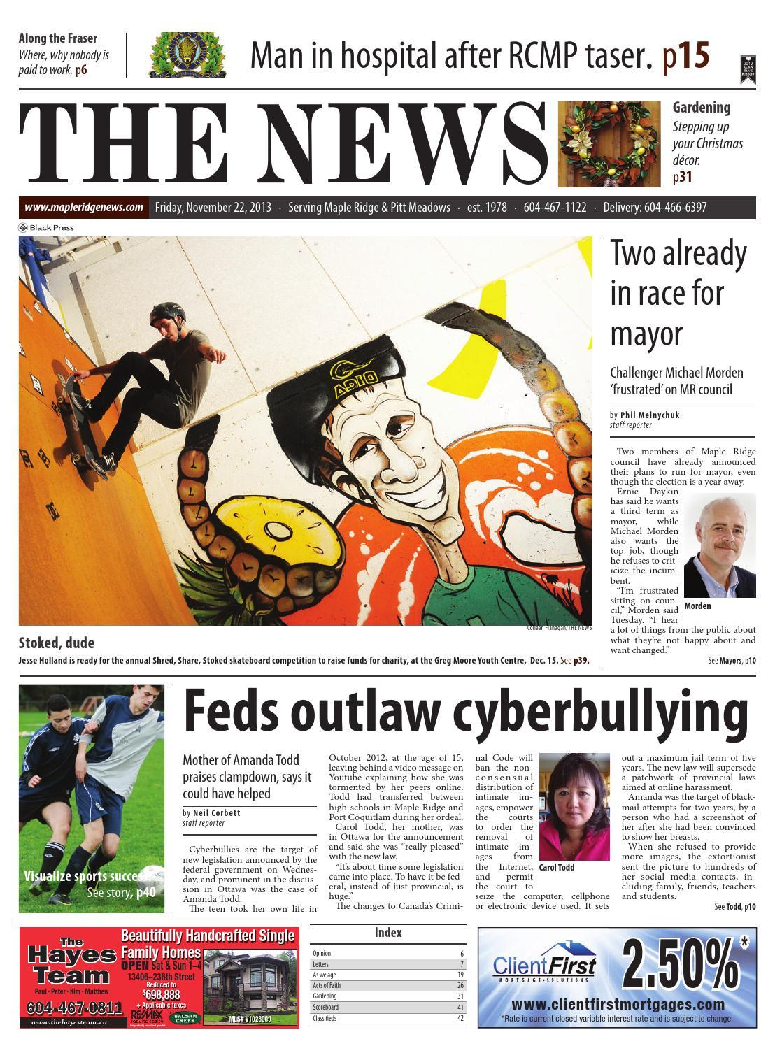 Maple Ridge News, November 22, 2013 by Black Press Media