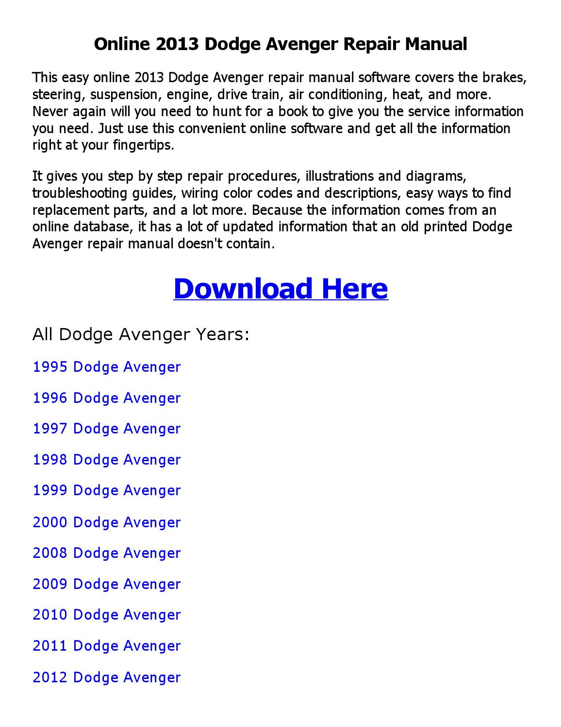 2013 dodge avenger wiring diagram 2013 dodge avenger repair manual online by sujith navarathne issuu  2013 dodge avenger repair manual online