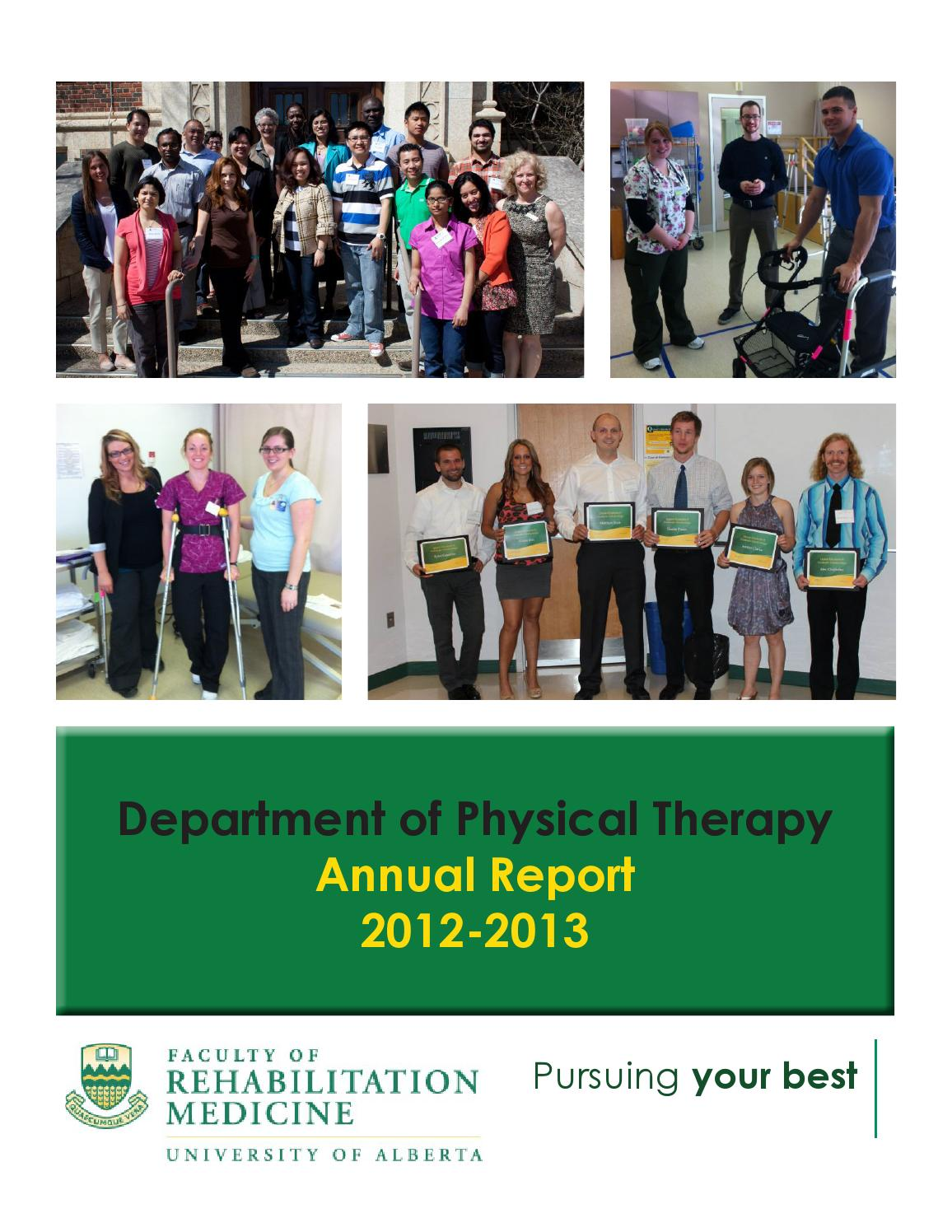 Canadian board of physical therapy - U Of A Department Of Physical Therapy Annual Report 2012 2013 By Laurie Wang Issuu