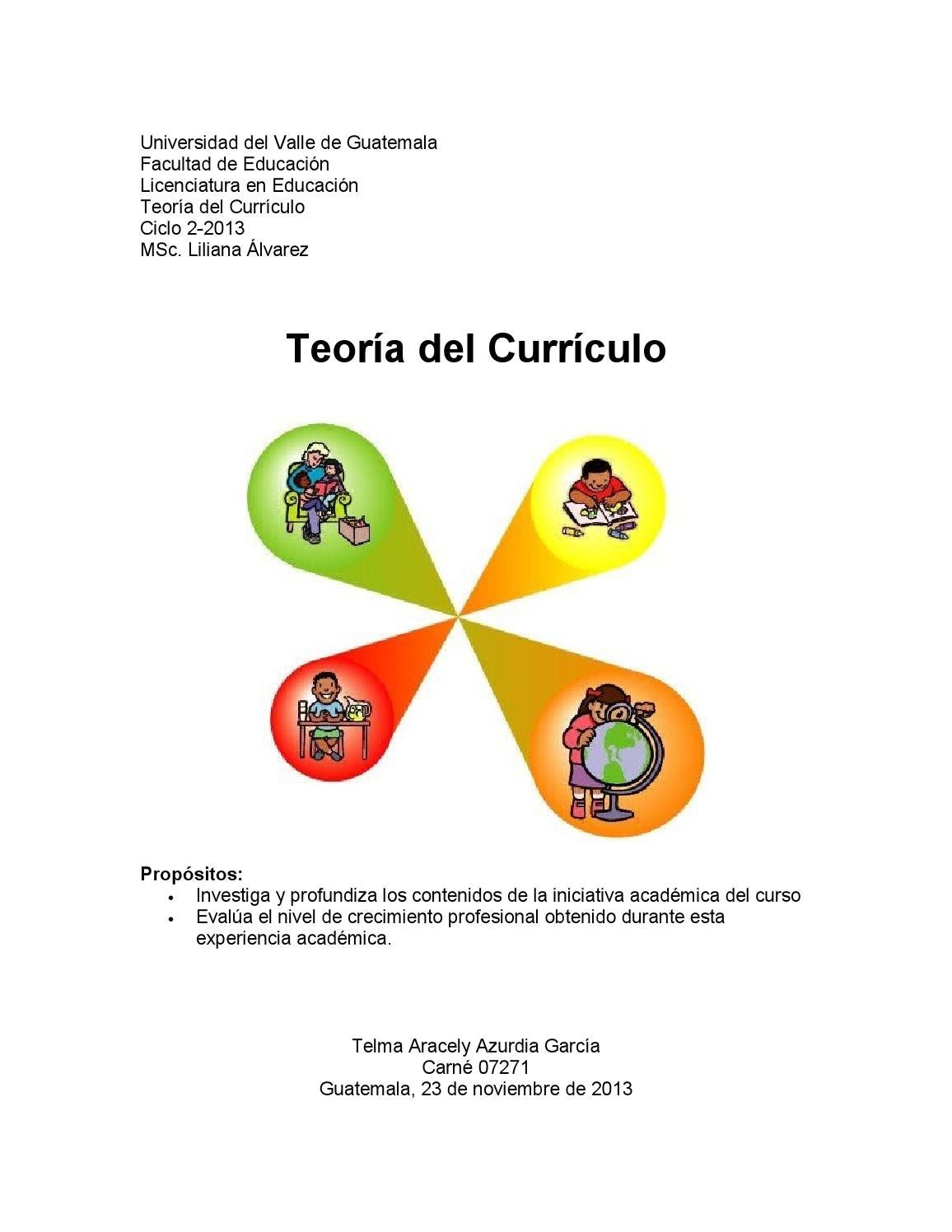 Teoria del curriculo by Telma Azurdia - issuu