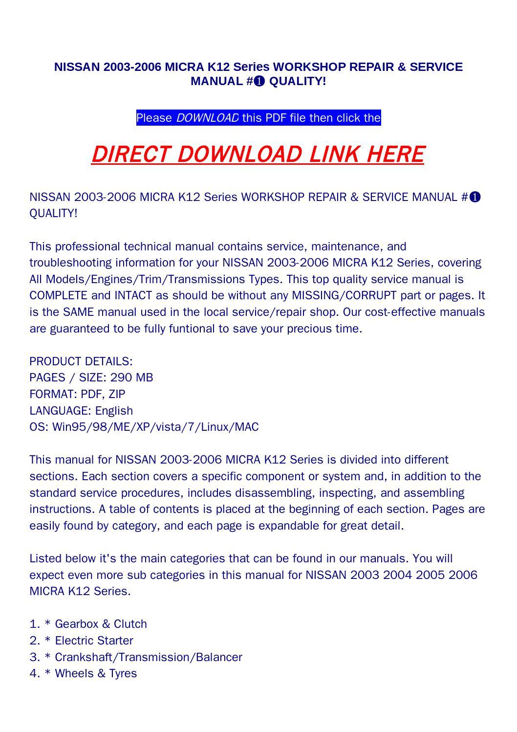 Nissan 2003 2006 micra k12 series workshop repair & service manual #➀  quality! by bonus300 - issuu