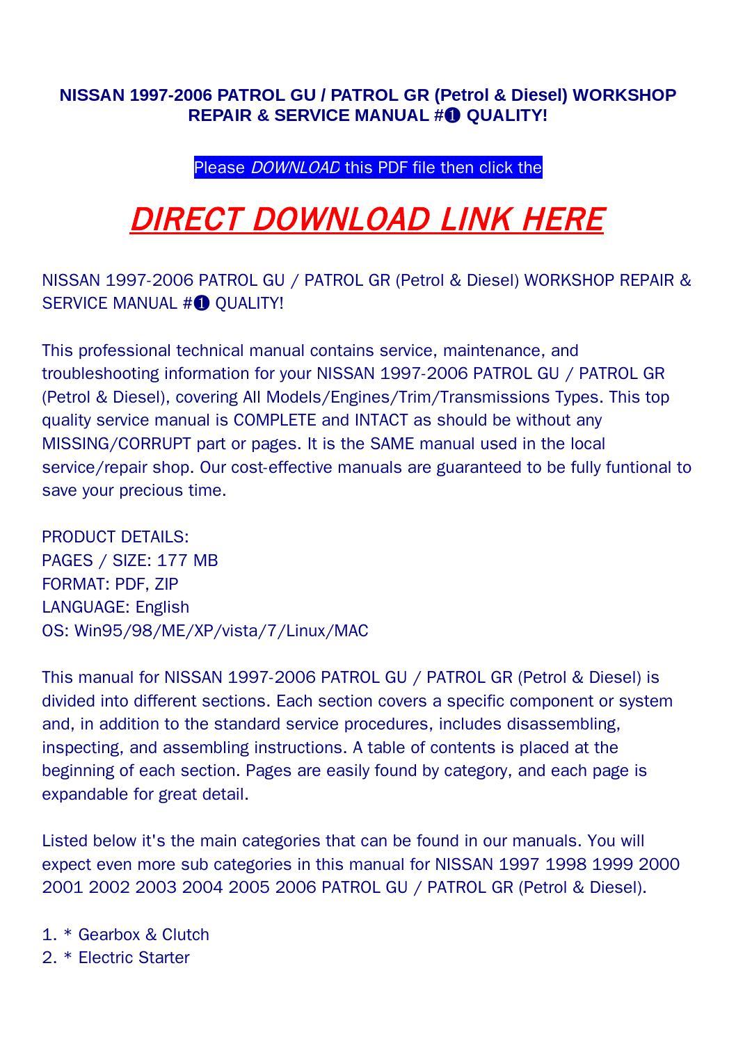 patrol y60 service manual pdf