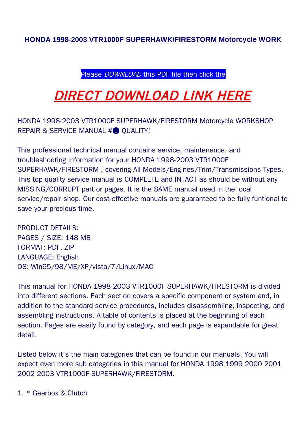 Honda 1998 2003 vtr1000f superhawk firestorm motorcycle work by bonus300 -  issuu