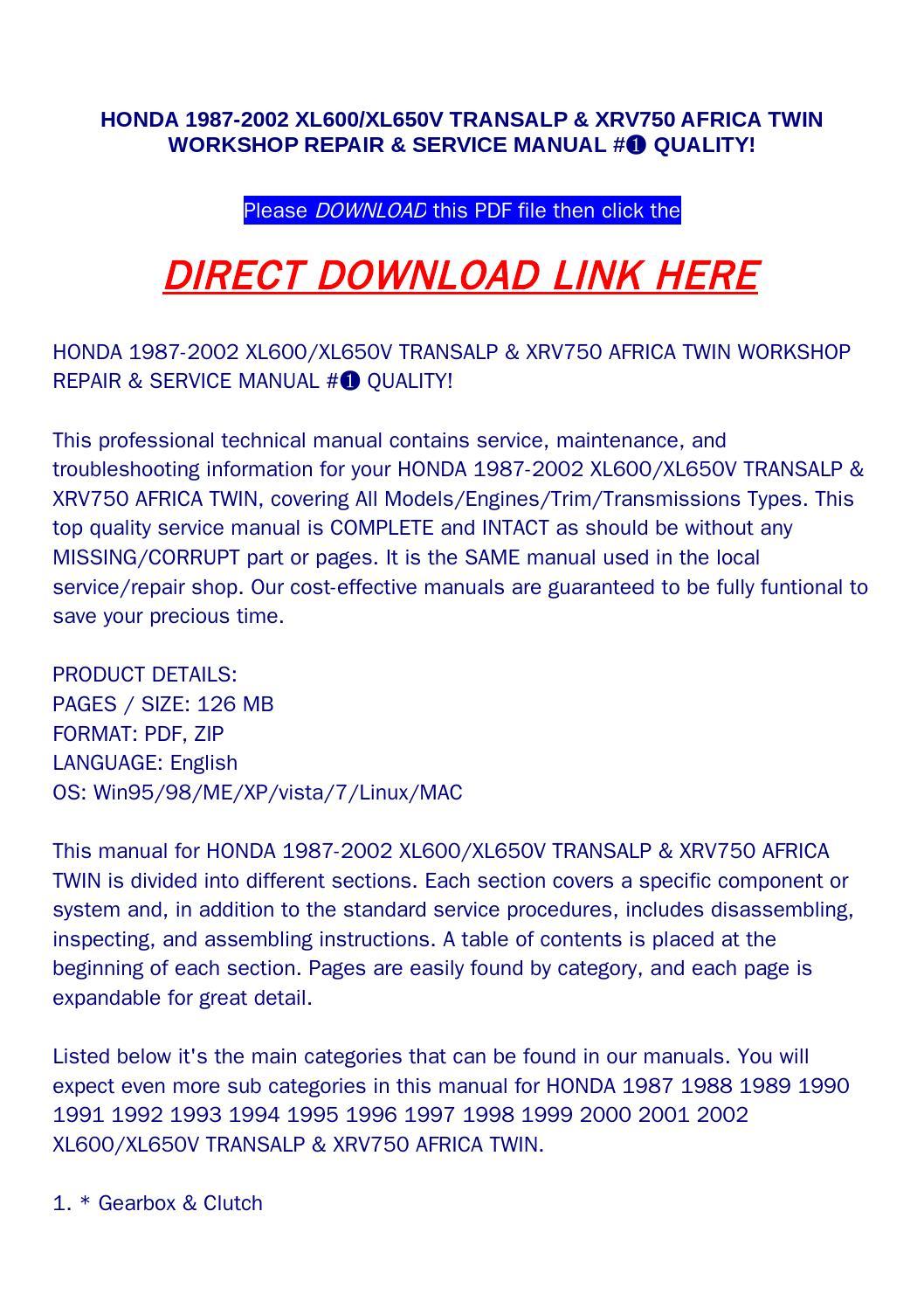 Honda 1987 2002 xl600 xl650v transalp & xrv750 africa twin workshop on