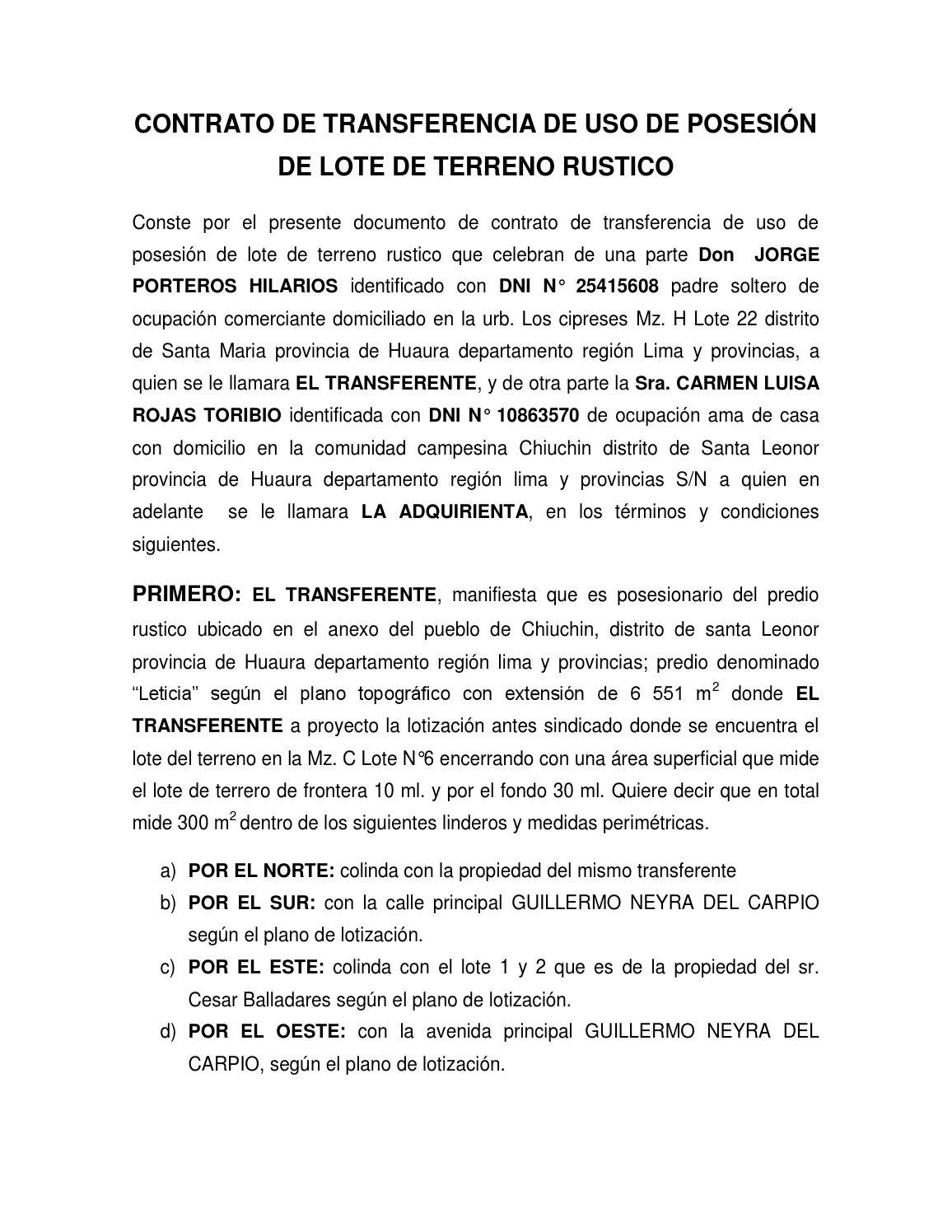 Contrato de transferencia de uso de posesión de lote de terreno ...