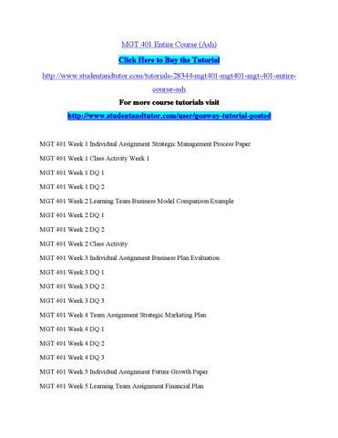 MGT 401 Week 2 Business Model Comparison