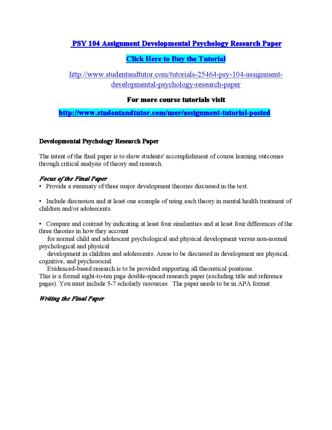 Process Paper Essay Psy  Assignment Developmental Psychology Research Paper By Rh Issuu Com  Child Development Psychology Research Paper Topics Introduction To  Developmental  Science And Technology Essay Topics also Thesis Statement For Descriptive Essay Developmental Psychology Research Paper Business Law Essays