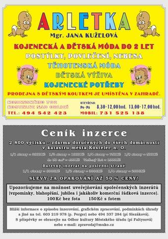 023bc339b92 Ceník inzerce 2 800 výtisků - zdarma doručených do všech domácností v  katastru města Kostelec n. O. 1 1 strany   2000 Kč