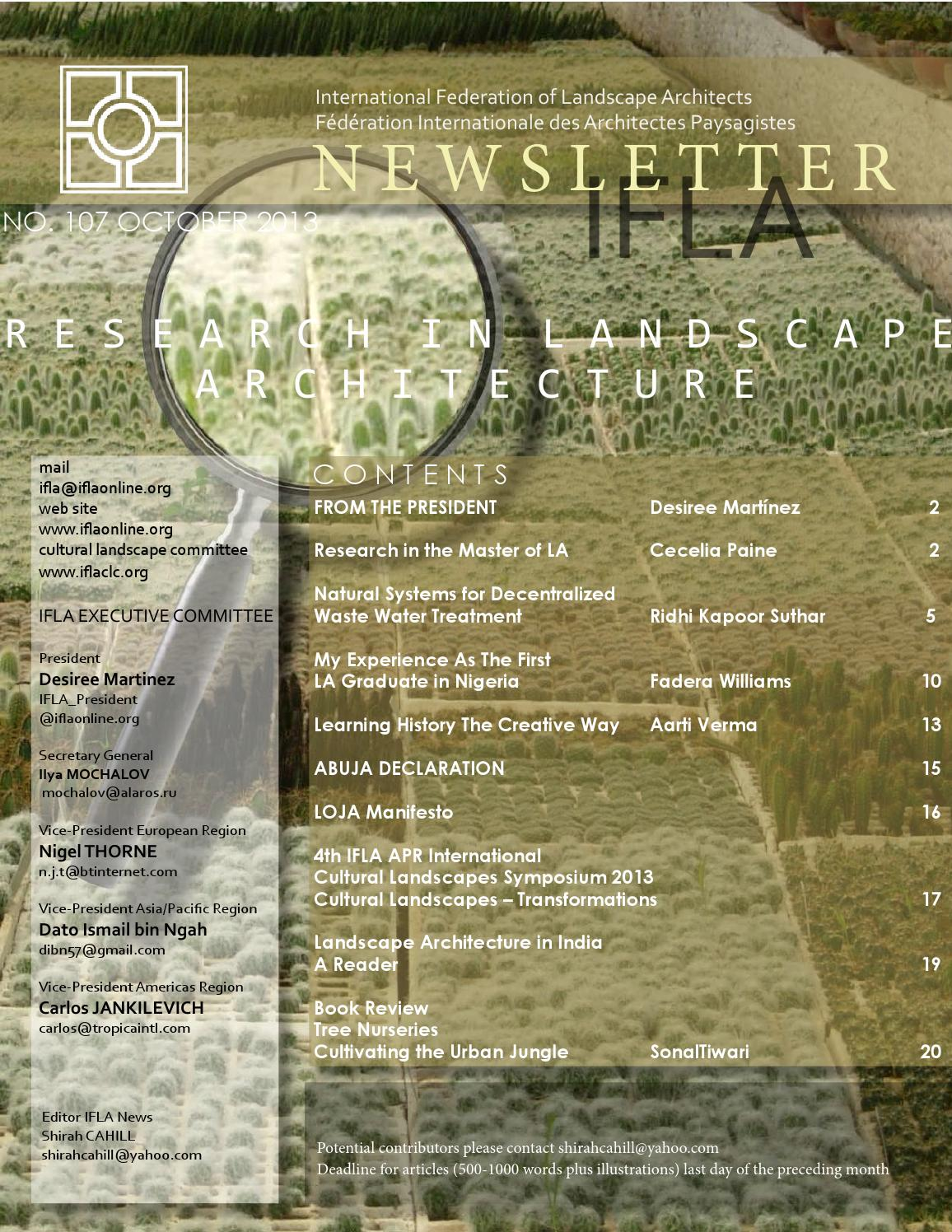 Ifla newsletter october 2013 by international federation for International federation of landscape architects