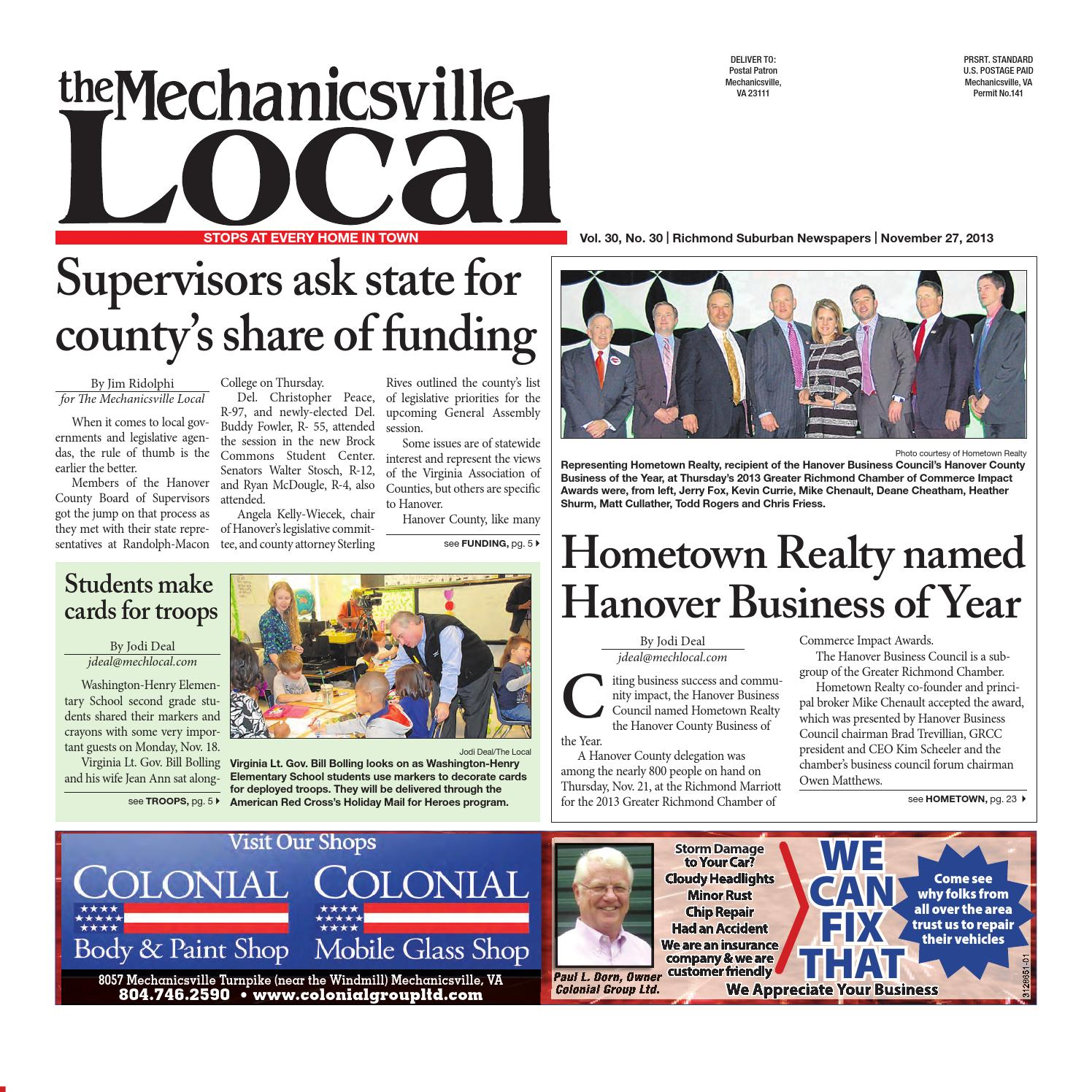 11272013 by the mechanicsville local issuu fandeluxe Gallery