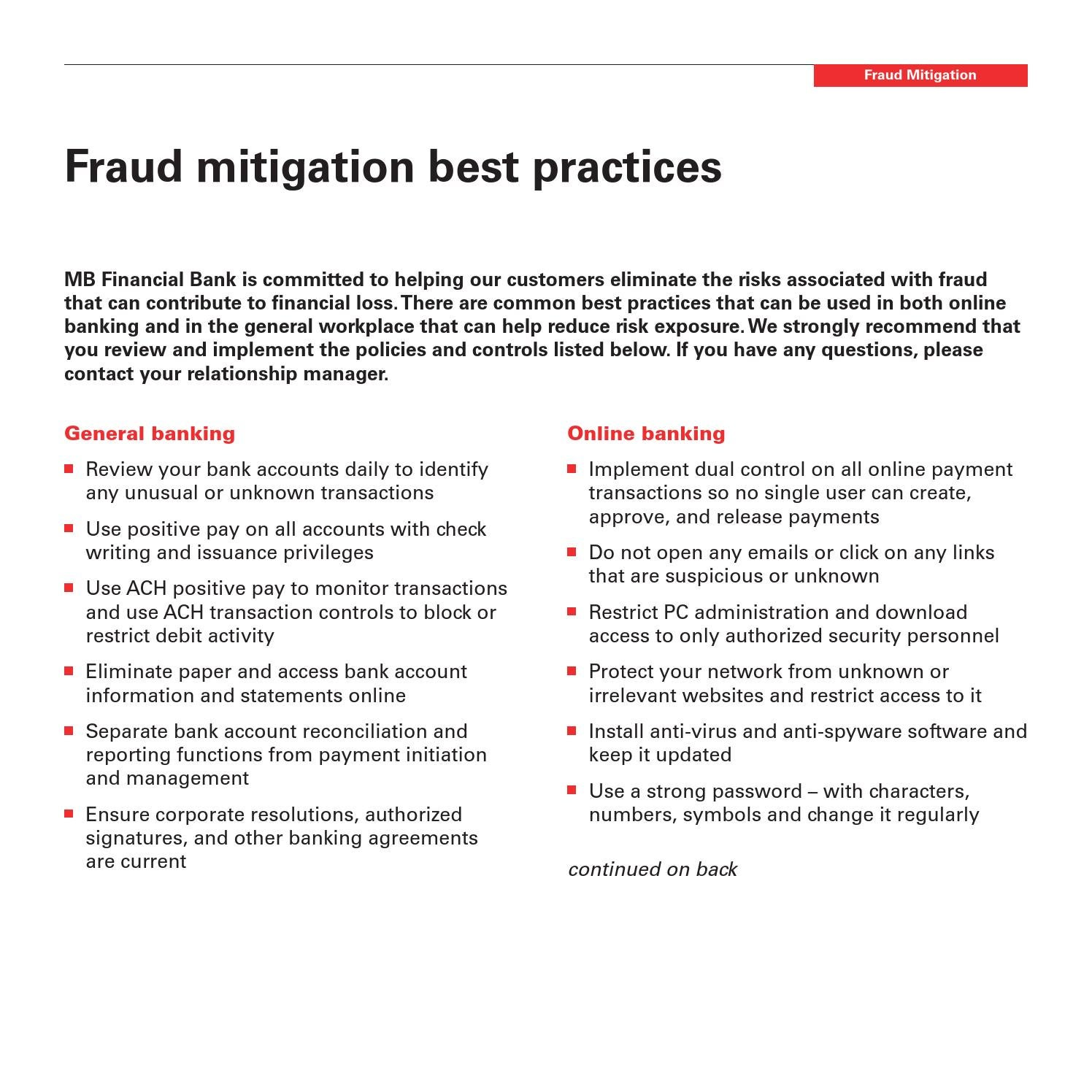 Unique Mitigation Specialist Jobs Or Loss Mitigation: Fraud Mitigation Best Practices By MB Financial Bank