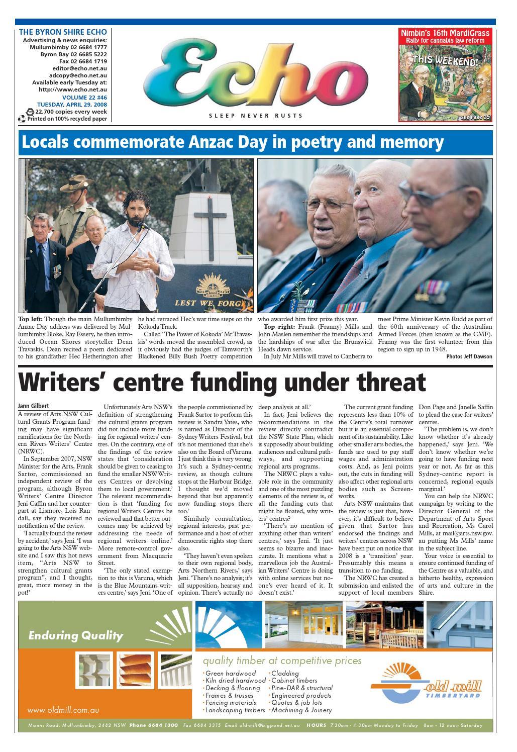 b700b79c42 Byron Shire Echo – Issue 22.46 – 29 04 2008 by Echo Publications - issuu