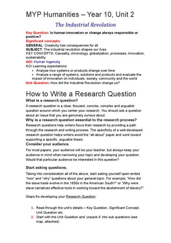Myp humanities – year 10 unit 2 research paper student guide to