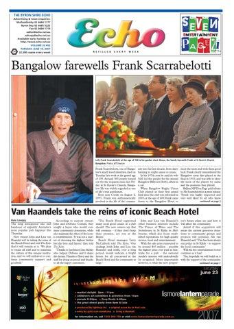 bda11f75df Byron Shire Echo – Issue 22.02 – 19 06 2007 by Echo Publications - issuu