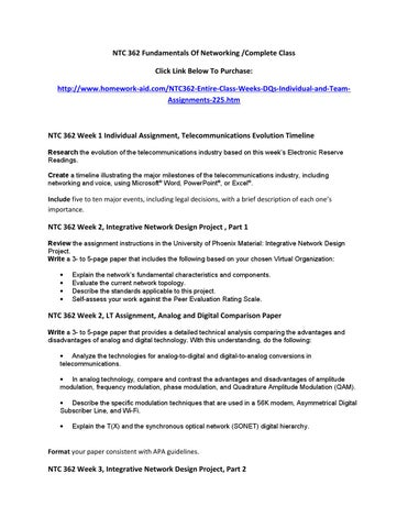 ntc 362 week one telecommunications evolution timeline Ntc/362 week 1 all assignments for to telecommunications network word or powerpointyour storyboard should depict a timeline for improvements to the bedford.