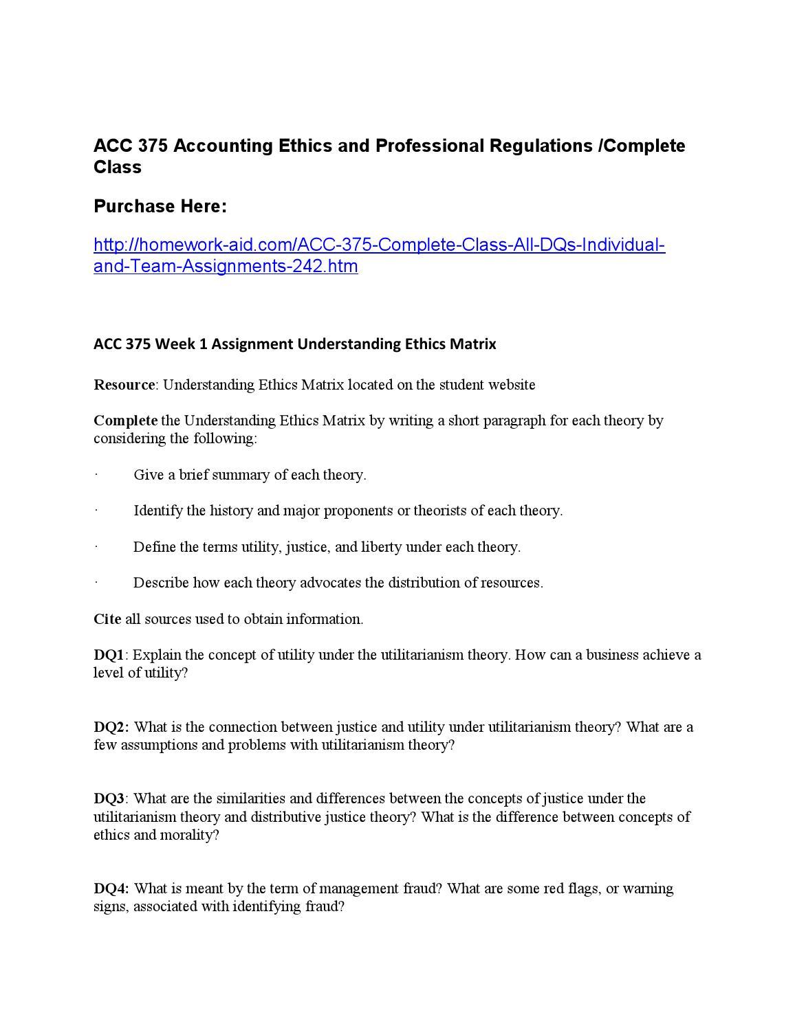 ACC 375 Week 1 Individual Assignment Understanding Ethics Matrix