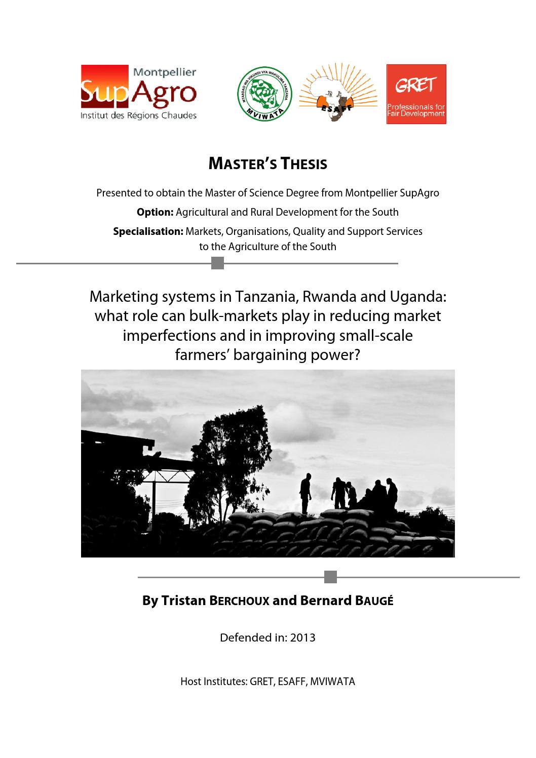 Marketing systems in Tanzania, Rwanda and Uganda: role of