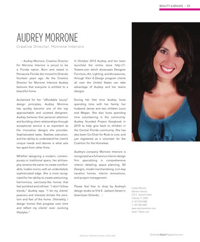 BEAUTY U0026 BRAINS   53. AUDREY MORRONE Creative Director, Morrone Interiors. U003e