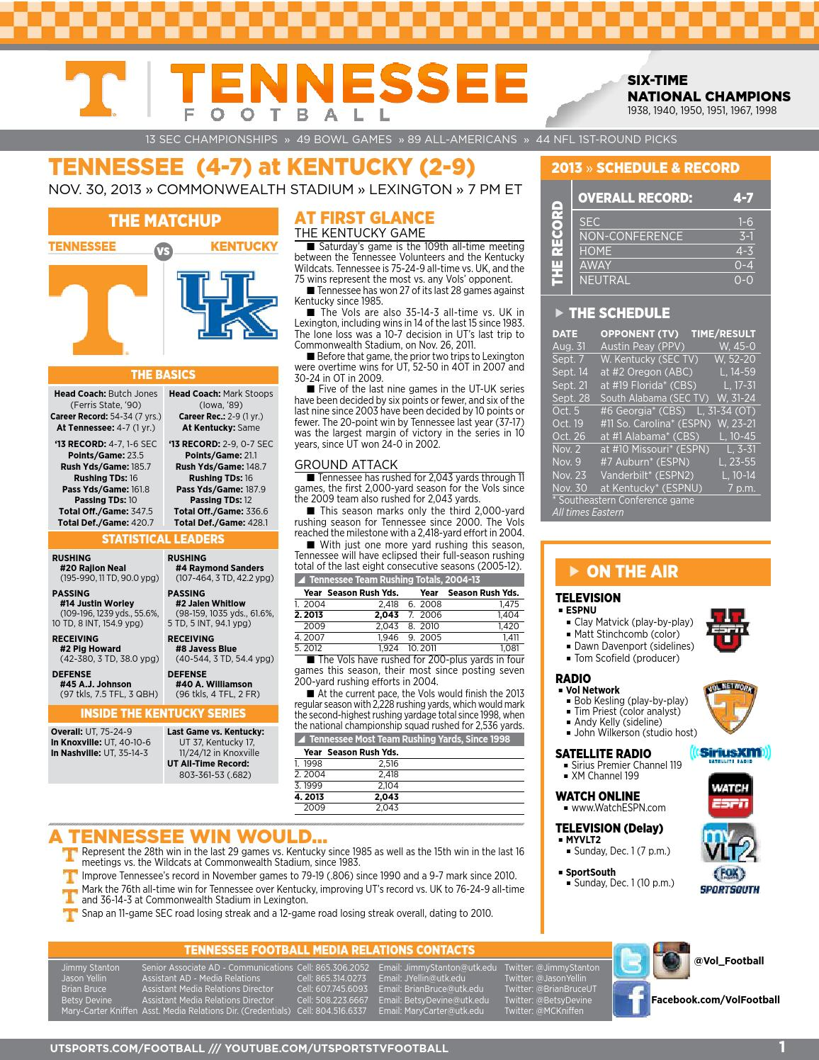 Tennessee Football Game Notes vs  Kentucky by The University