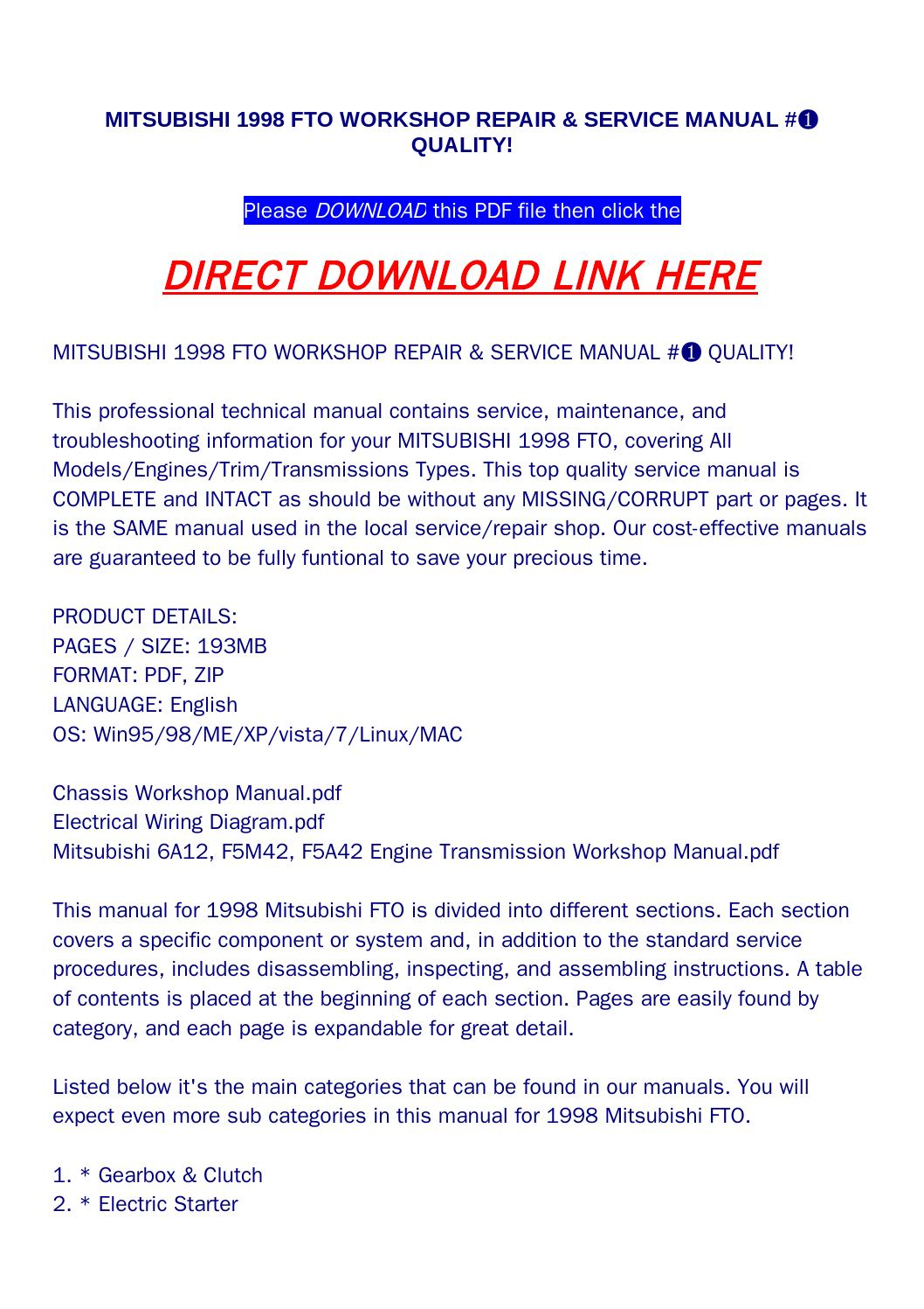 Mitsubishi 6a12 Wiring Diagram Schematic Diagrams 1998 3000gt Fuse Box Fto Workshop Repair Service Manual Quality By