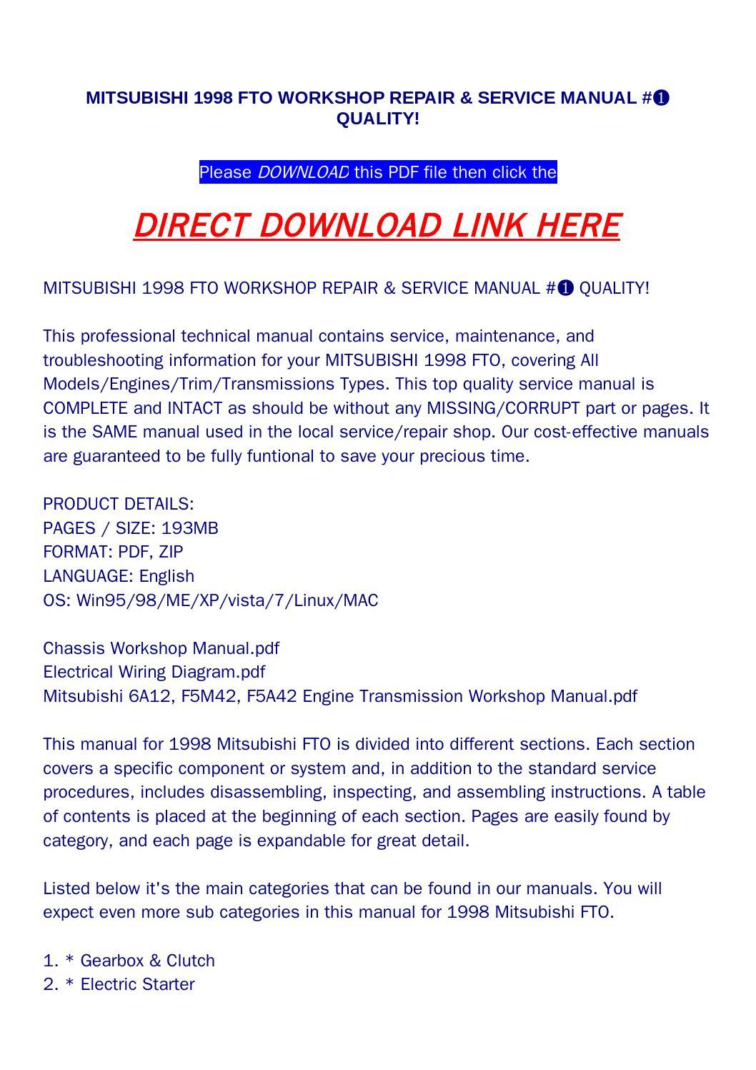 Mitsubishi 1998 fto workshop repair & service manual #➀ quality! by  bonus300 - issuu