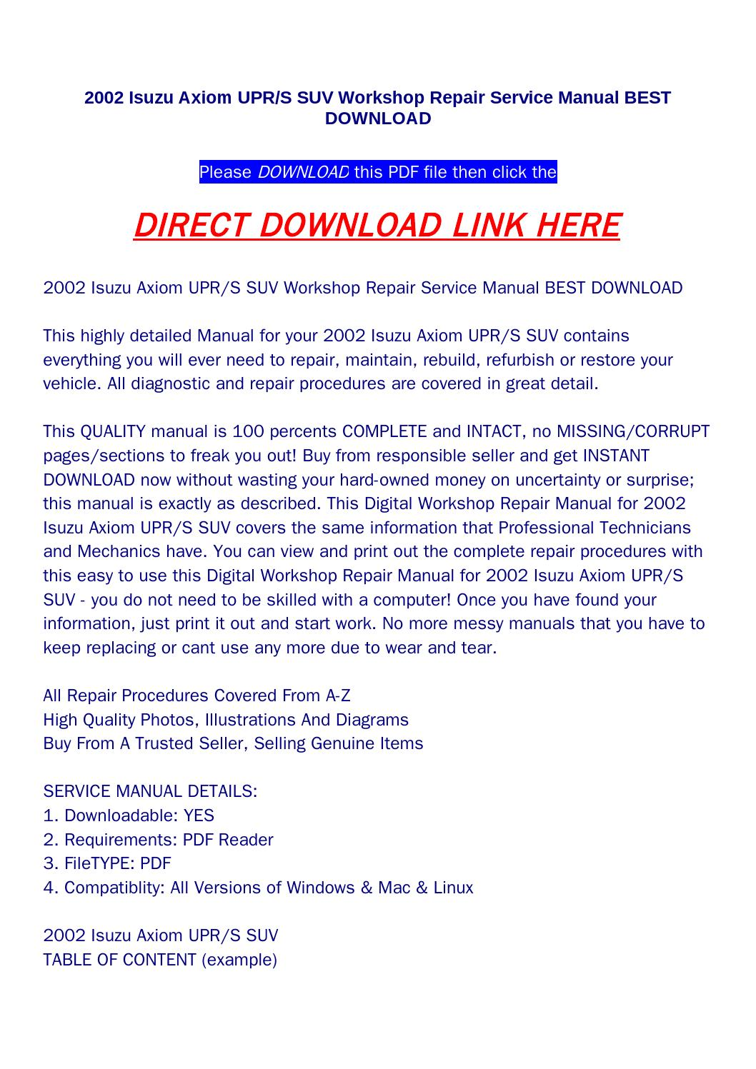 2002 isuzu axiom upr s suv workshop repair service manual best download by  bonus300 - issuu