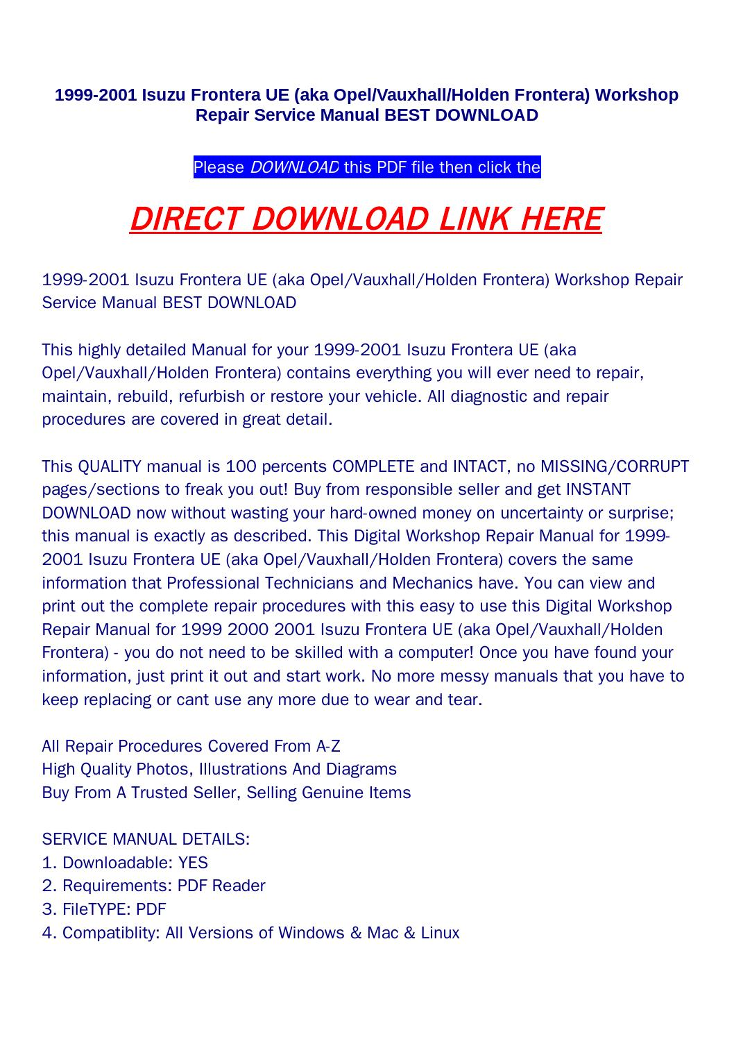 isuzu holden 1999 factory service repair manual ebook