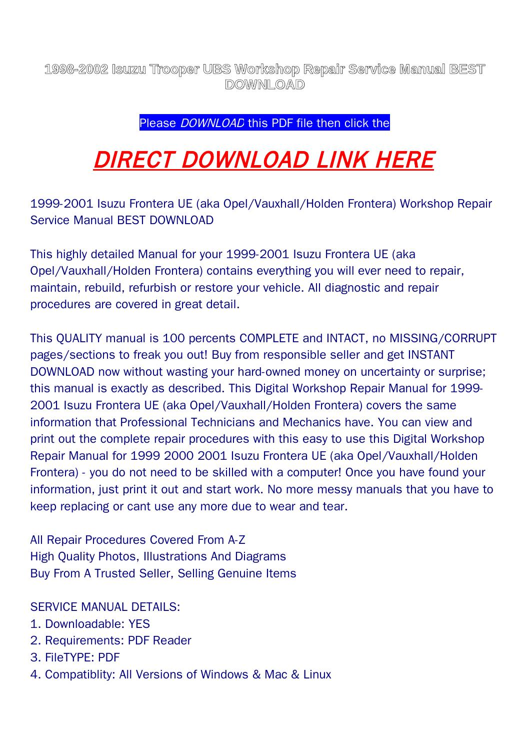Repair Diagrams For 1998 Isuzu Trooper Engine Transmission Lighting