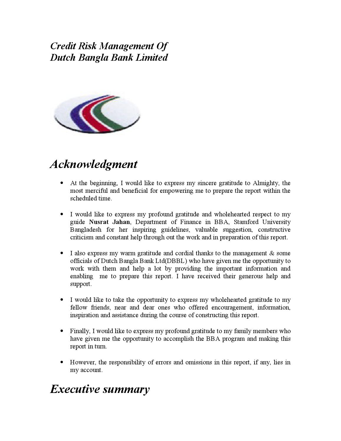 Credit Risk Management Of Dutch Bangla Bank Limited By Lawjuris Issuu