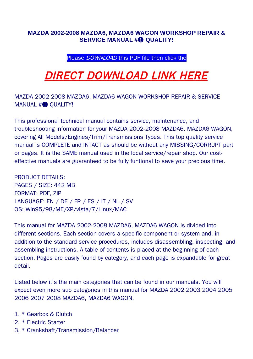 Mazda 2002 2008 mazda6, mazda6 wagon workshop repair & service manual #➀  quality! by bonus300 - issuu