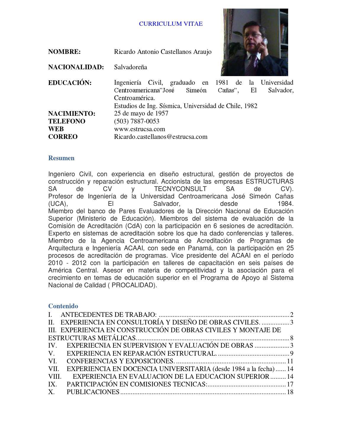 Curriculum r castellanos mayo 2013 by Ricardo Castellanos - issuu