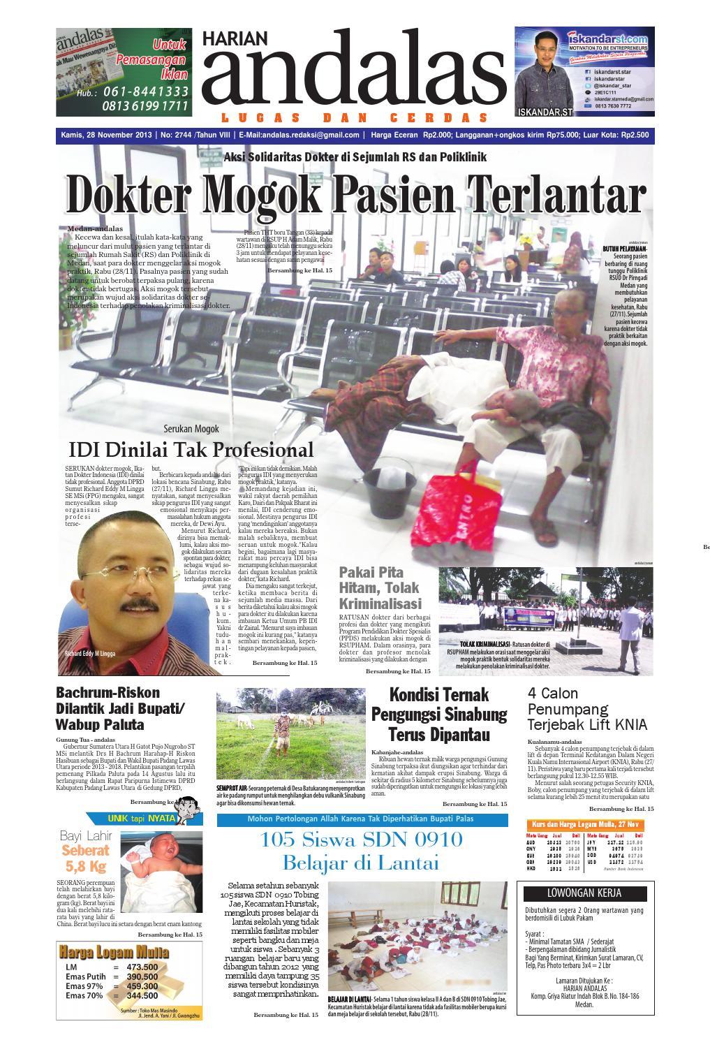 Epaper Andalas Edisi Kamis 28 November 2013 By Media Andalas