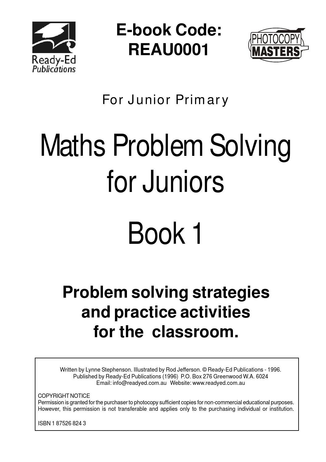 Maths Problem Solving for Juniors - Book 1 by Ready-Ed Publications ...