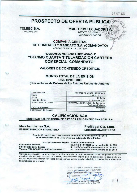 Prospecto VCT Comandato by Bolsa de Valores de Quito - issuu