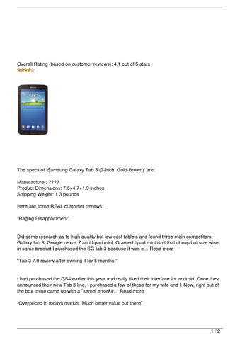 Samsung Galaxy Tab 3 (7-Inch, Gold-Brown) Review by Kim