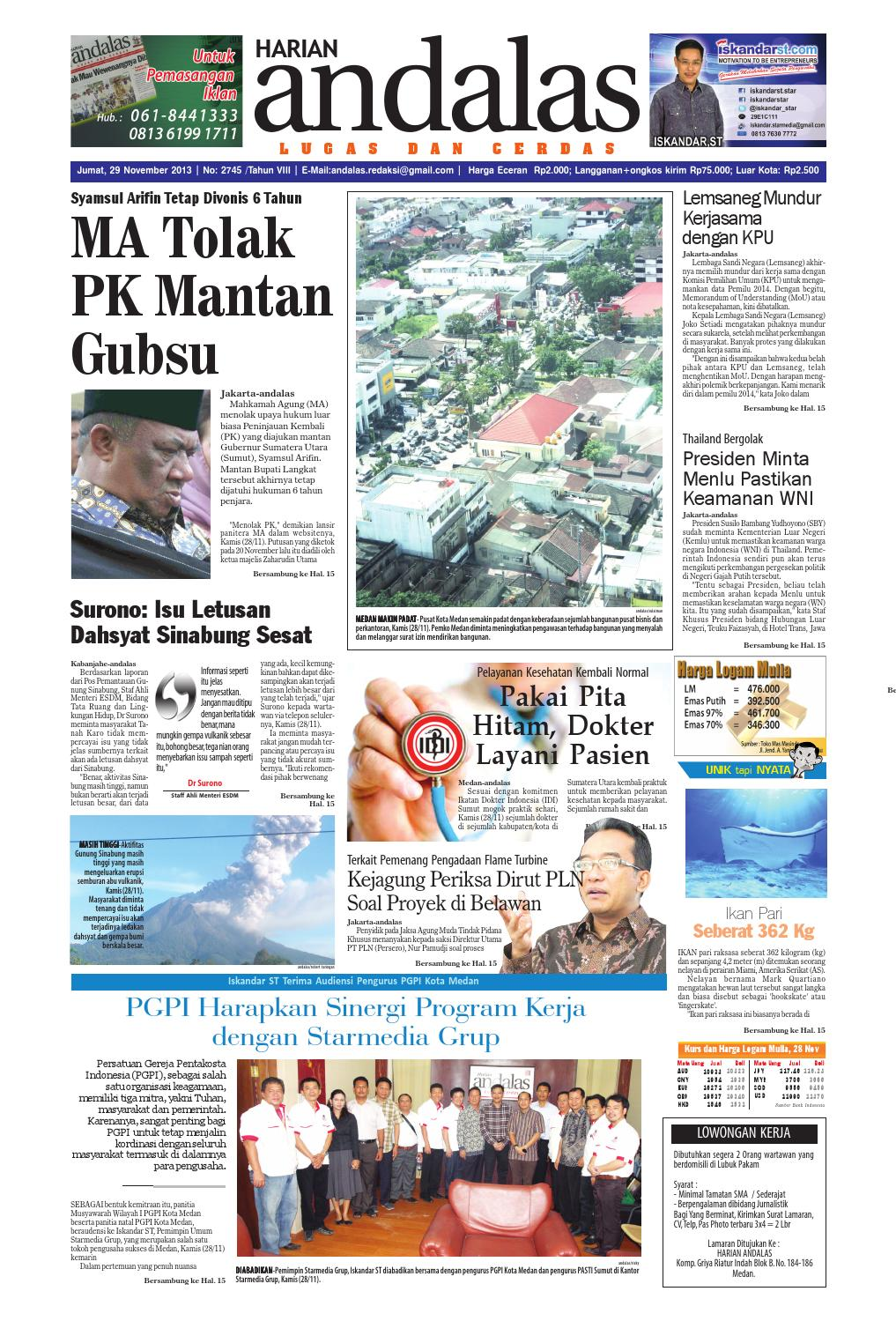 Epaper Andalas Edisi Jumat 29 November 2013 By Media Andalas Issuu