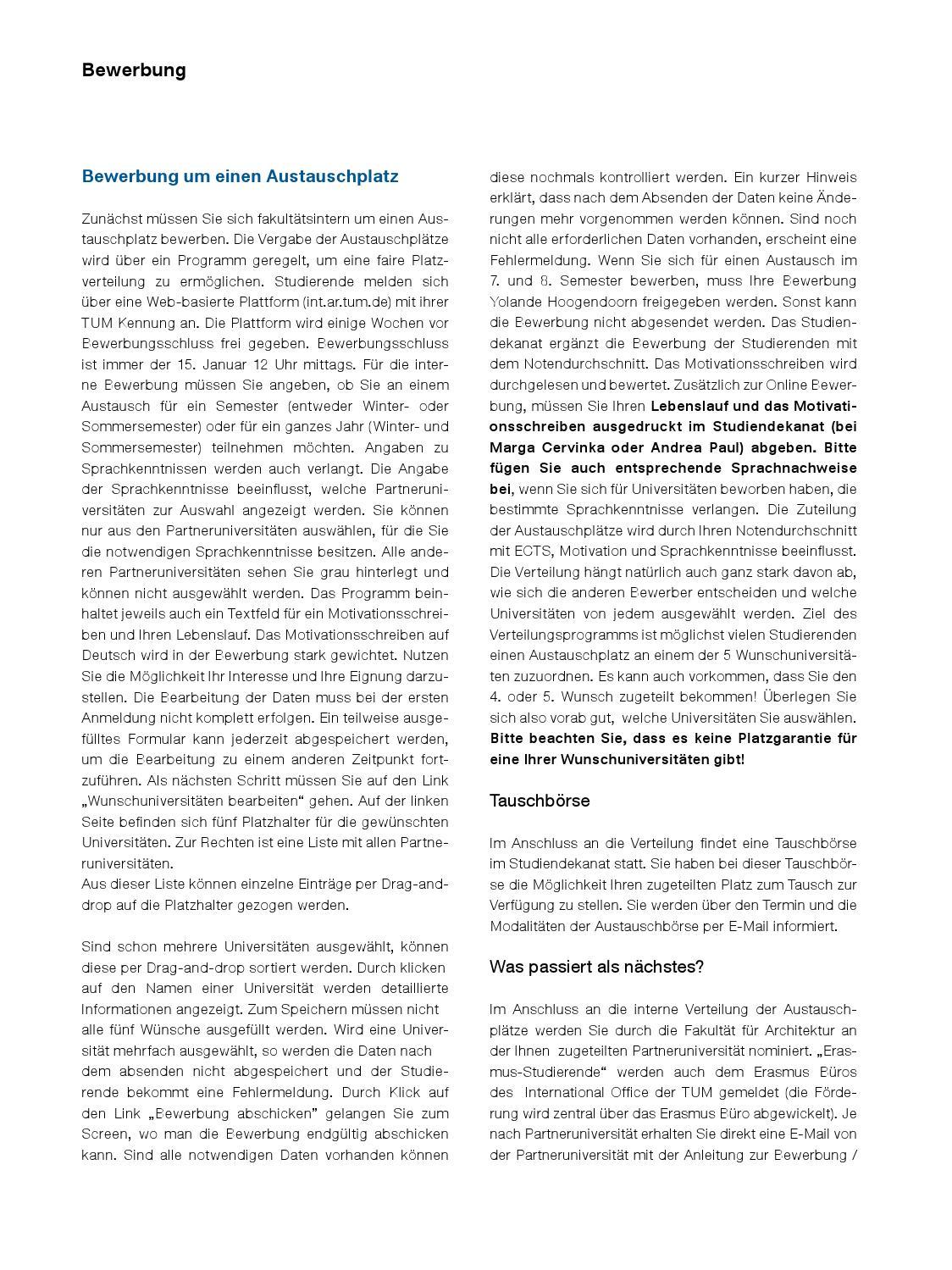 Motivationsschreiben Architektur 130919 auslandsstudium 2013 web by fakultät für architektur tu