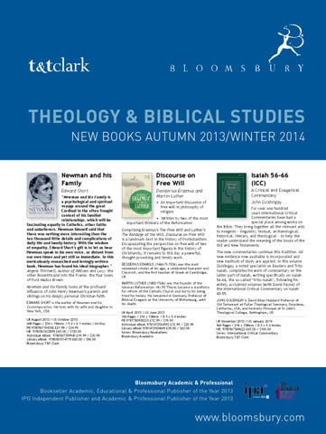 Theology Biblical Studies New Books 2013 14 By Bloomsbury