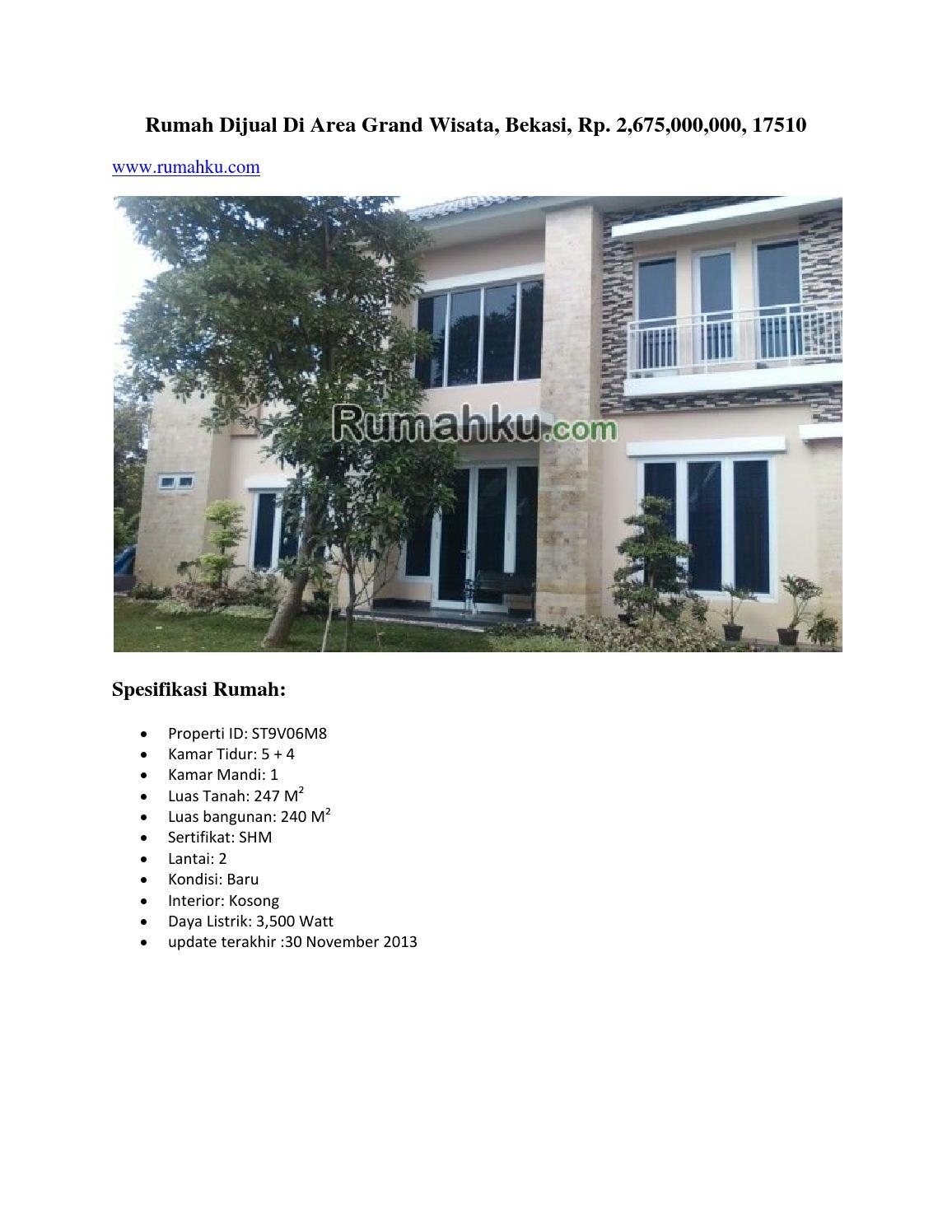 Rumah dijual di area grand wisata, bekasi, rp ...