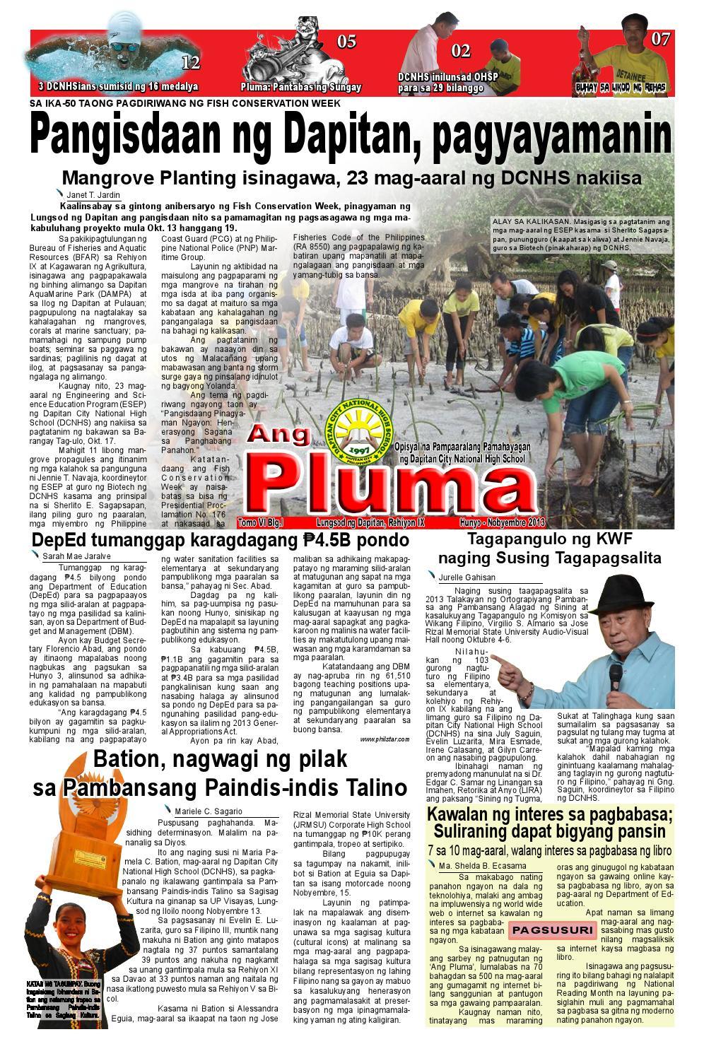 Ang pluma by campusjournalist issuu for Bureau tagalog