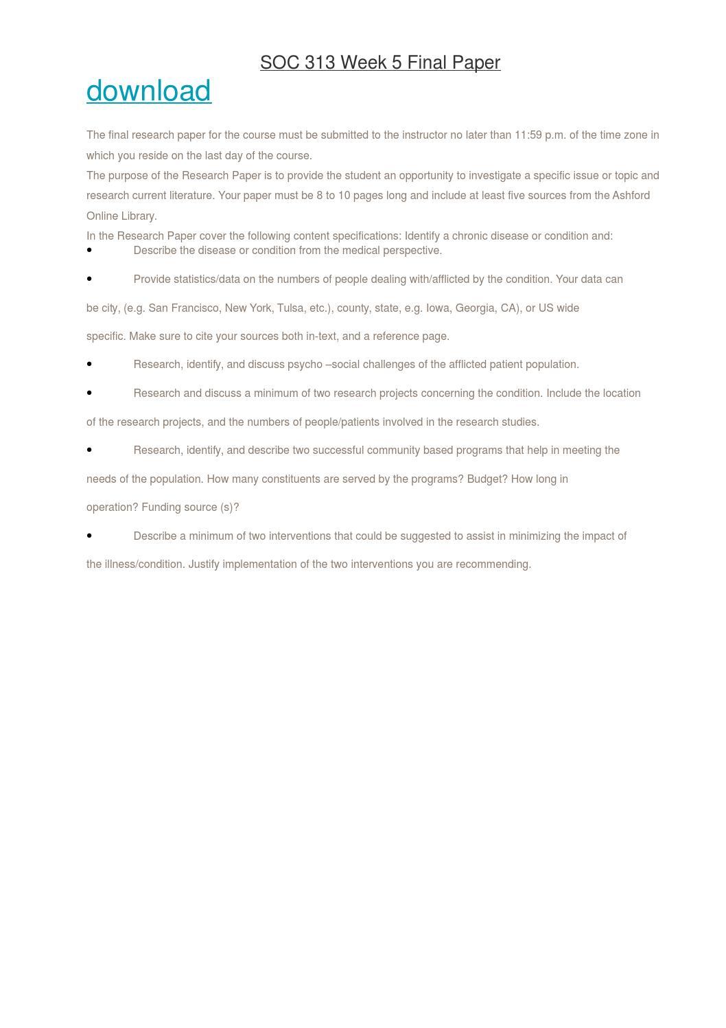 soc 313 week 5 final paper