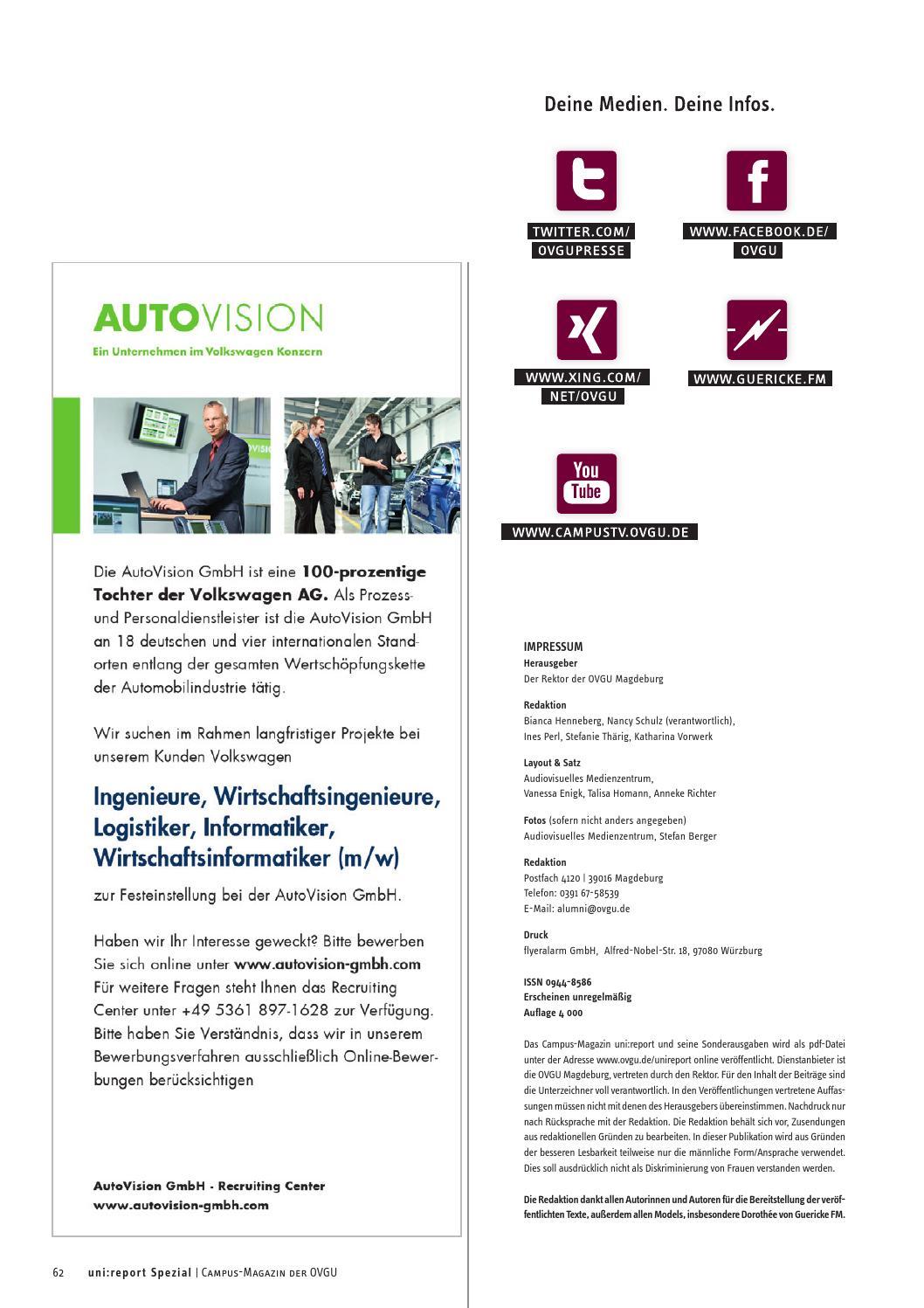 unireport spezial by otto von guericke universitt magdeburg issuu - Autovision Online Bewerbung