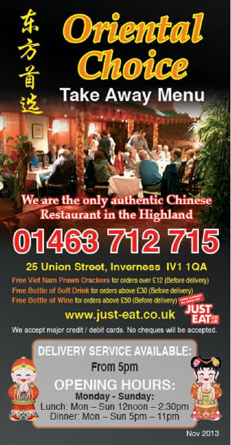 Oriental Choice Inverness Takeaway Menu Dec 13 By Explore