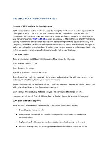 Ccna certification exam overview guide by Prabhu Gupta - issuu