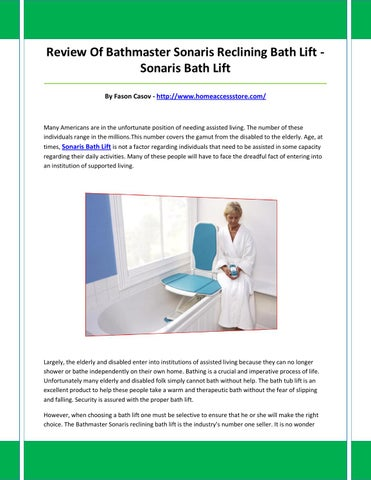 Great Bathmaster Sonaris Reclining Bath Lift Photos - The Best ...