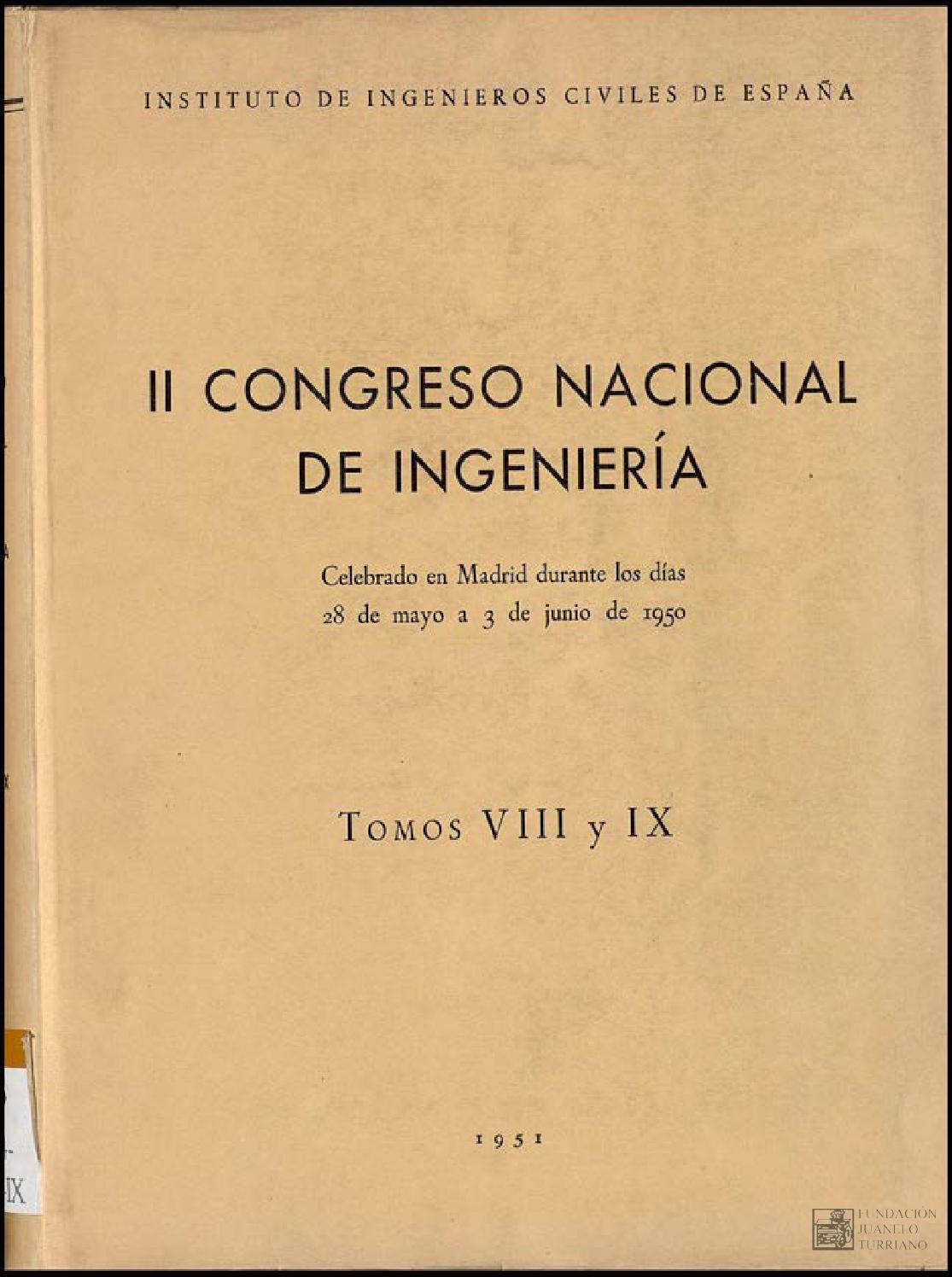 Congreso Nacional De Ingenier A 2 1950 Madrid Tomo 8 By  # Muebles Umbe Horario