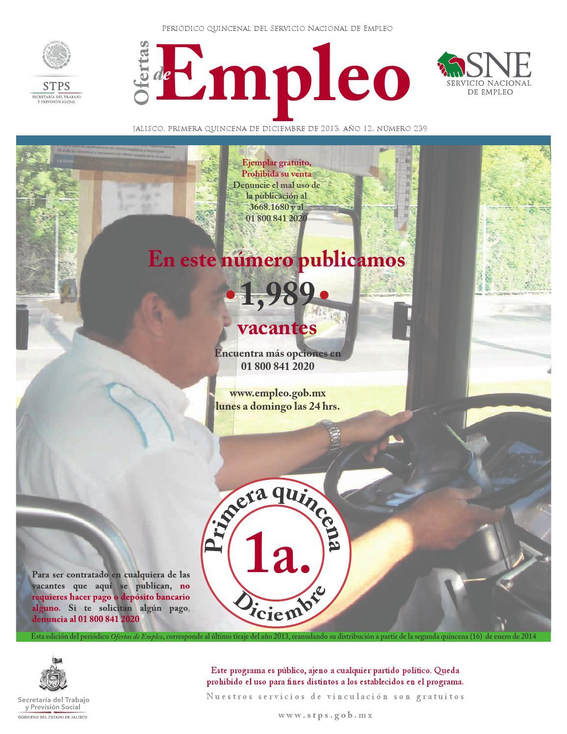 Ofertas De Empleo 1ra Quincena De Diciembre By Comunicaci N Stps  # Vacantes Muebles Dico Guadalajara