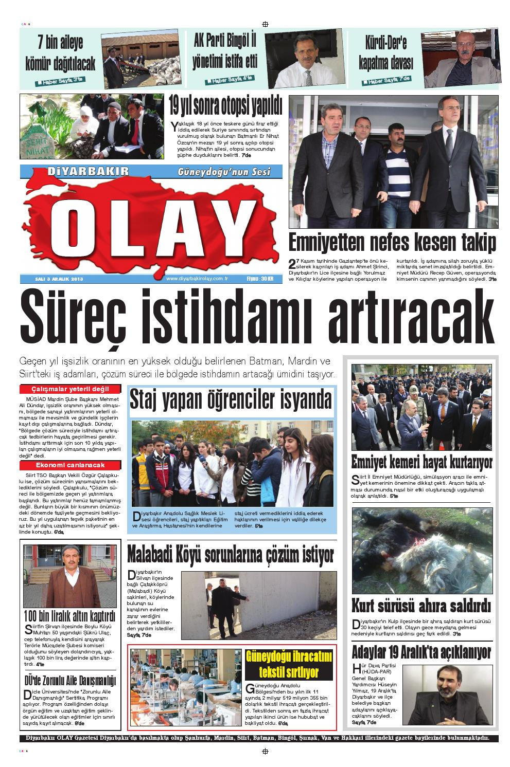 03 12 2013 Gazete Sayfalari By Diyarbakir Olaygazetesi Issuu