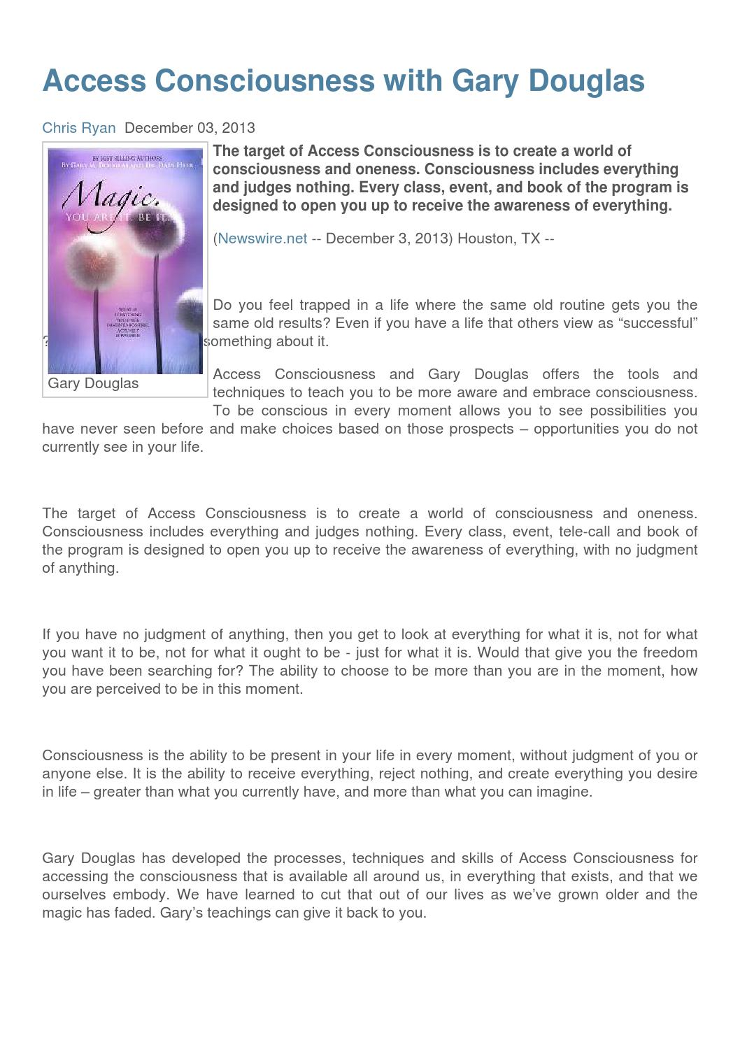Access Consciousness with Gary Douglas by Newswire - issuu